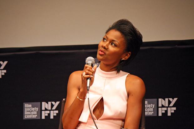 "Emayatzy Corinealdi talks about ""Miles Ahead"" at the 2015 New York Film Festival   Melanie Votaw Photo"