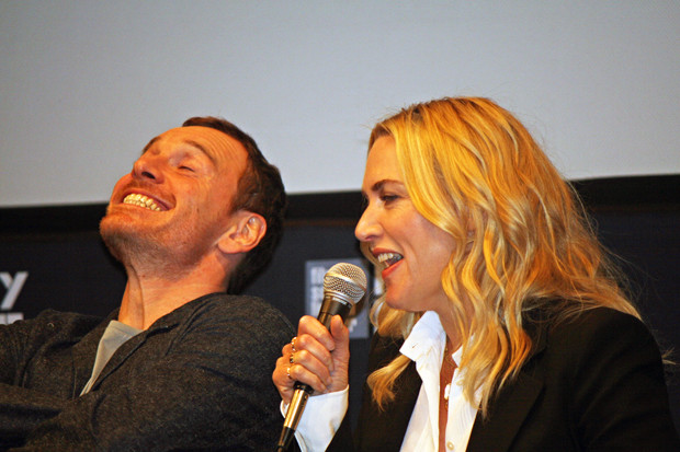 """Kate Winslet makes Michael Fassbender laugh at the """"Steve Jobs"""" press conference at the New York Film Festival 2015 