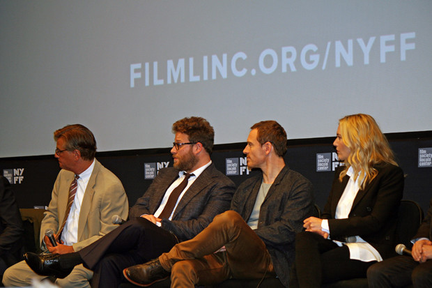 """Aaron Sorkin, Seth Rogen, Michael Fassbender, and Kate Winslet at the """"Steve Jobs"""" press conference at the 2015 New York Film Festival 