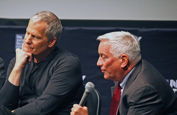"""Jeff Daniels and Walter Isaacson at the """"Steve Jobs"""" press conference at the 2015 New York Film Festival 