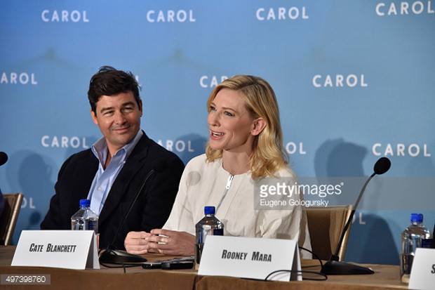 "Kyle Chandler and Cate Blanchett at the New York press conference for ""Carol"" 