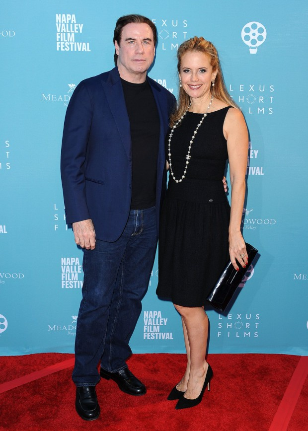 """YOUNTVILLE, CA - NOVEMBER 14: John Travolta and Kelly Preston at the world premiere of """"Life on the Line"""" at the 2015 Napa Valley Film Festival at the Lincoln Theater on November 14, 2015 in Yountville, California. (Photo by Scott Kirkland/PictureGroup)"""