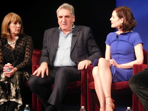 """Downton Abbey"" cast members Phyllis Logan, Jim Carter and Elizabeth McGovern answer questions at a Q&A Dec. 22, 2015 
