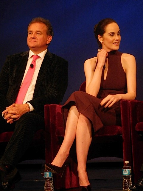 """Downton Abbey"" cast members Hugh Bonneville and Michelle Dockery answer questions at a Q&A Dec. 22, 2015 