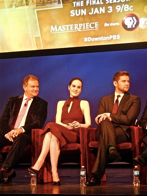 """Downton Abbey"" cast members Hugh Bonneville, Michelle Dockery and Allen Leech answer questions at a Q&A Dec. 22, 2015 