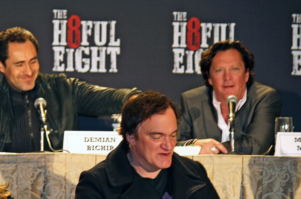 "Demian Bechir, Quentin Tarantino, and Michael Madsen at the New York press conference for ""The Hateful Eight"" 