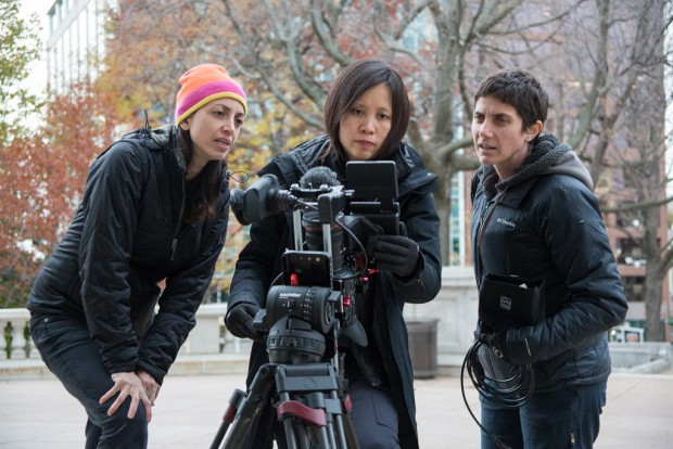 "Directors Laura Ricciardi (left) and Moira Demos (right) with Iris Ng (center) on the set of the Netflix original documentary series ""Making A Murderer"". Photo Credit: Netflix."
