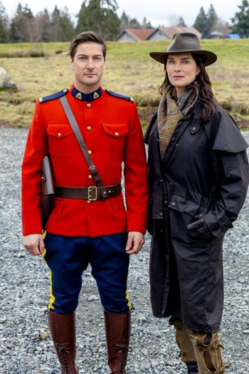 "Daniel Lissing as Mountie Jack and Brooke Shields as his mother, Charlotte, in ""When Calls the Heart"" 