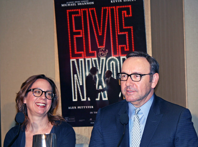 Liza Johnson and Kevin Spacey at the Elvis & Nixon press conference in New York | Melanie Votaw Photo