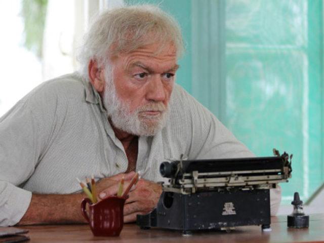 "Adrian Sparks as Hemingway using Hemingway's actual typewriter in ""Papa: Hemingway in Cuba"""