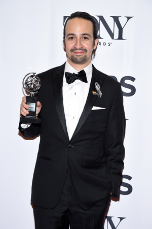"Lin-Manuel Miranda with one of his Tony Awards for ""Hamilton"" 