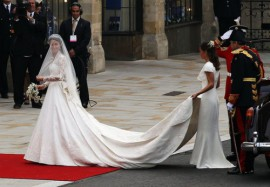 Kate Middleton arrives at Westminster Abbey for her wedding to Prince William