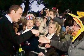 Royal Wedding, Prince William greets the crowd outside Clarence House