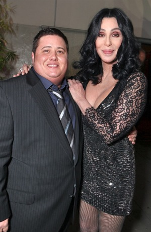 Chaz Bono and Cher at the Burlesque Premiere