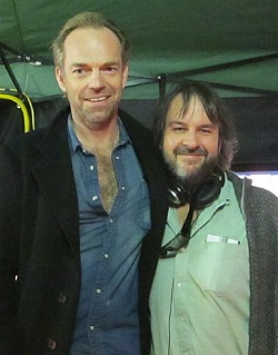 hugo weaving visits peter jackson on the set of 'the hobbit'