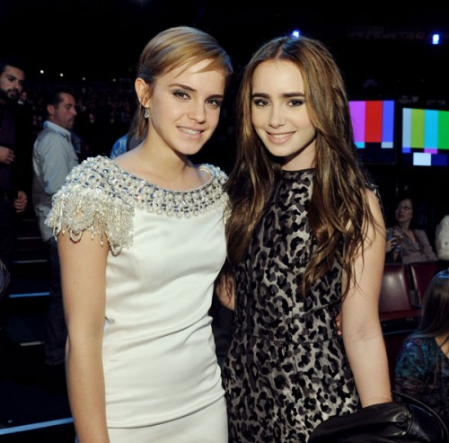 Emma Watson and Lily Collins at the MTV Movie Awards 2011. 'Harry Potter and the Deathly Hallows, Part 2' hits theaters July 15, 2011.