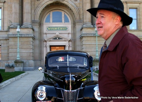 Bill Mullen with an antique car outside the courthouse where Andy was tried in The Shawshank Redemption