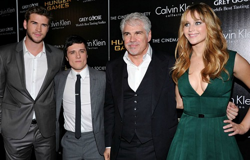 The Hunger Games: Liam Hemsworth, Josh Hutcherson, Gary Ross and Jennifer Lawrence