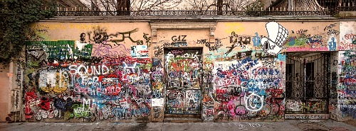 Serge Gainsbourg House - Street Level with Graffiti
