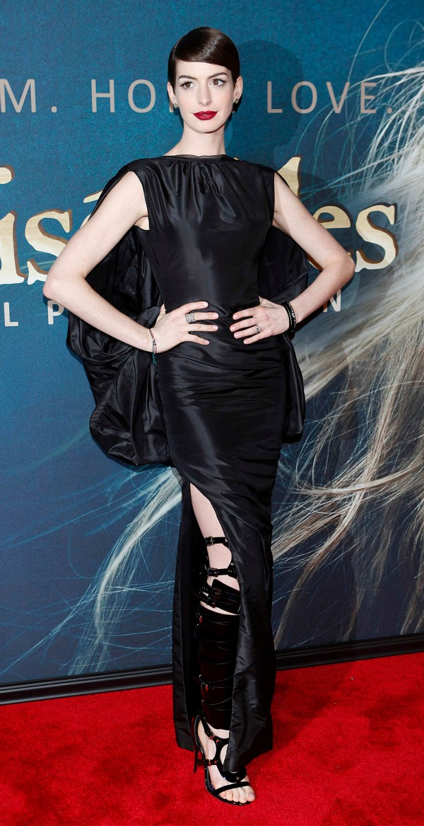 Anne Hathaway in Tom Ford gown and bondage boots - Reel Life With Jane