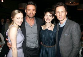 Amanda Seyfried, Hugh Jackman, Anne Hathaway and Eddie Redmayne at a private screening of Les Miserables