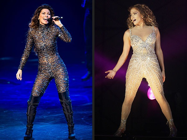 Shania Twain and Jennifer Lopez in Bodysuits