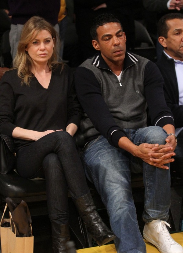 Ellen Pompeo and Hubby at the Lakers Game