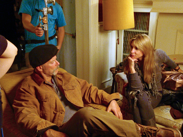 "Stephen Lang and Melissa Jo Peltier chat on the set of the feature film, ""White Irish Drinkers."""