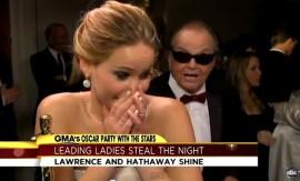 Oscars 2013: Jennifer Lawrence and Jack Nicholson