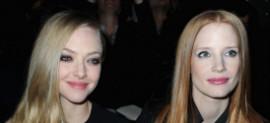 Amanda Seyfried, Jessica Chastain at Paris Fashion Week