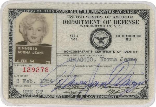 Marilyn Monroe's 1954 ID Card
