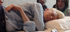 Tilda Swinton Sleeping at MoMA