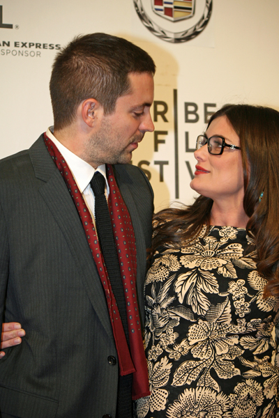 "Director Kat Coiro looks lovingly at actor husband, Rhys Coiro, on the red carpet for the premiere of her film, ""A Case of You"" 