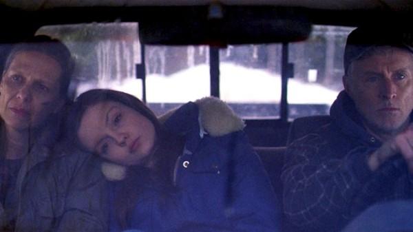 "Amy Morton, Emily Meade, and John Slattery in ""Bluebird"""