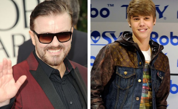 Ricky Gervais and Justin Bieber