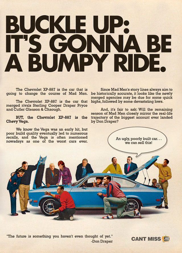 Vintage Chevy Vega Ad With Mad Men Characters