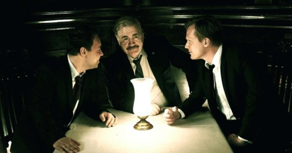 """Brian Cox (center) with Stephen Graham and Paul Bettany in """"Blood"""""""