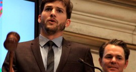Ashton Kutcher at NY Stock Exchange