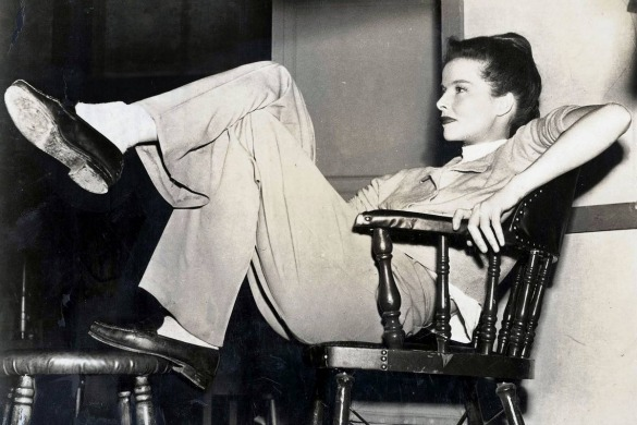 Katharine Hepburn on the set of