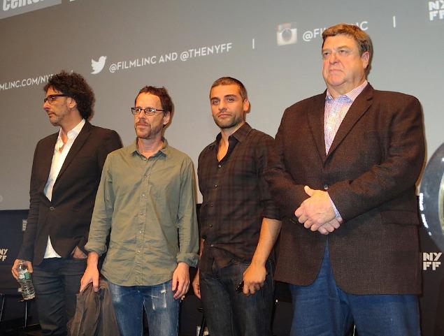 Inside Llewyn Davis: Joel Coen, Ethan Coen, Oscar Isaac and John Goodman   Paula Schwartz Photo