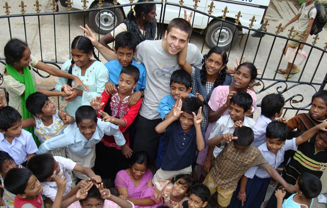 Blood Brother: Rocky Braat and the kids at the orphanage.