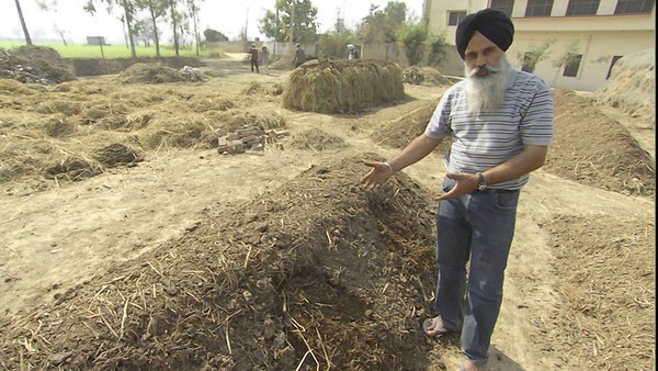 "Jaspal Singh Chatta with compost in a scene from ""Symphony of the Soil"" (Courtesy of Lily Films)"