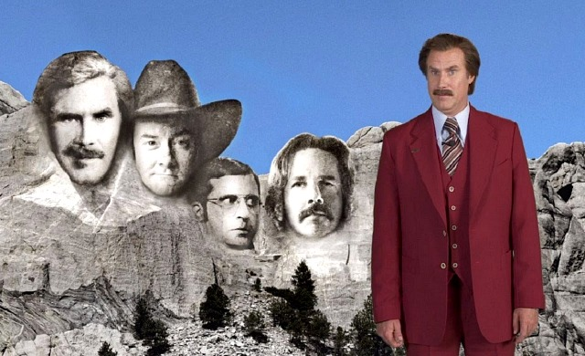 Ron Burgundy on Mount Rushmore