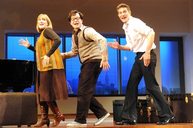 "Jenna Russell, Damian Humbley, and Mark Umbers in ""Merrily We Roll Along"""