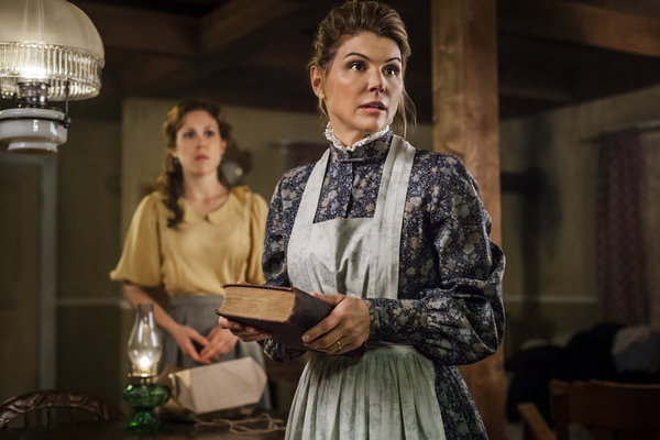 """Erin Krakow and Lori Loughlin in """"When Calls the Heart"""" on the Hallmark Channel"""