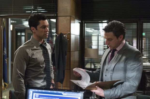 "Danny Pino as Det. Nick Amaro, Raul Esparza ad ADA Rafael Barba in the ""Comic Perversion"" episode of ""Law & Order: SVU""