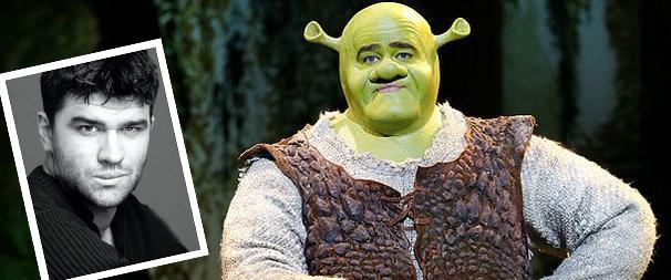 Ben Crawford's headshot and as Shrek.