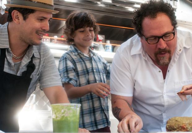 """John Leguizamo, Emjay Anthony, and Jon Favreau in """"Chef"""""""