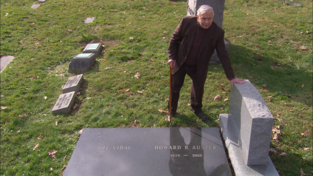 "Gore Vidal visits his grave site in ""Gore Vidal: The United States of Amnesia."""