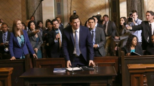 """BONES:  Booth (David Boreanaz, C) is questioned by a Senate subcommittee while Brennan (Emily Deschanel, L) looks on in the """"The Recluse in the Recliner"""" Season Finale episode of BONES airing Monday, May 19 (8:00-9:00 PM ET/PT) on FOX.  ©2014 Fox Broadcasting Co.  Cr:  Patrick McElhenney/FOX"""